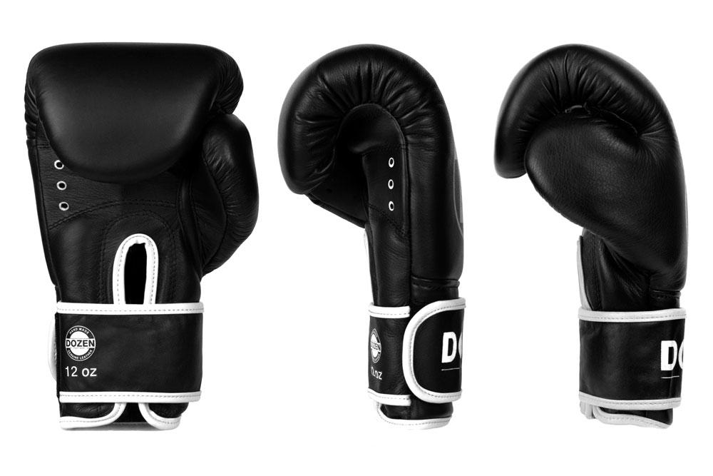Вид доворота черно-белых боксёрских перчаток Dozen Monochrome