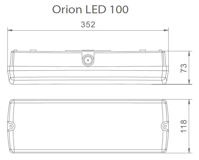 Размеры автономного светового указателя Orion LED 100 IP65