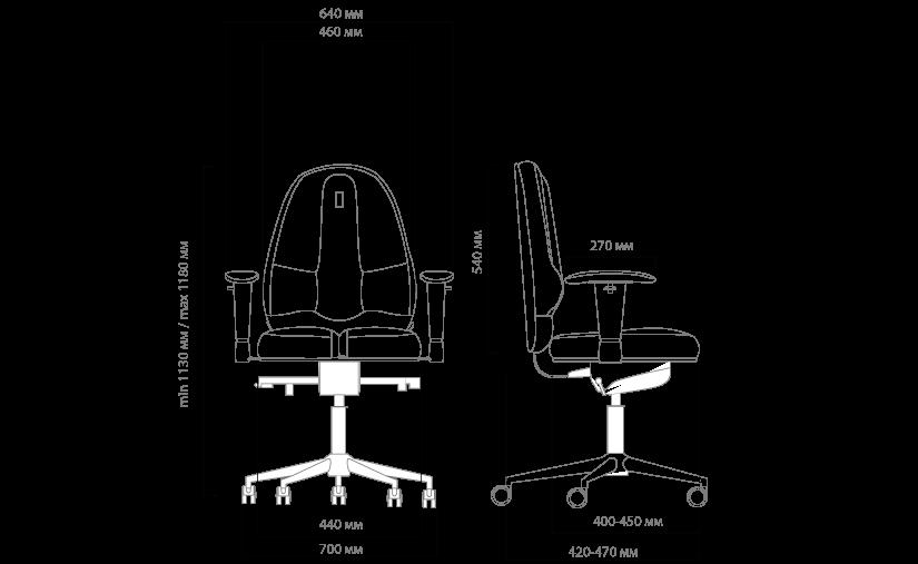 Габариты кресла KULIK SYSTEM CLASSIC MAXI  без подголовника