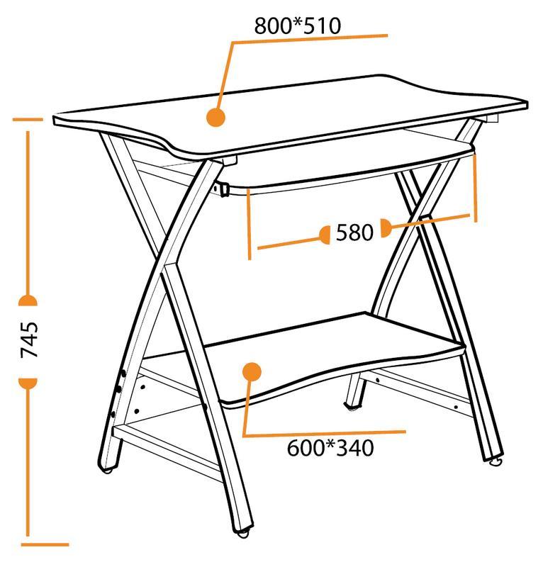 Размеры компьютерного стола Wader WRX-01