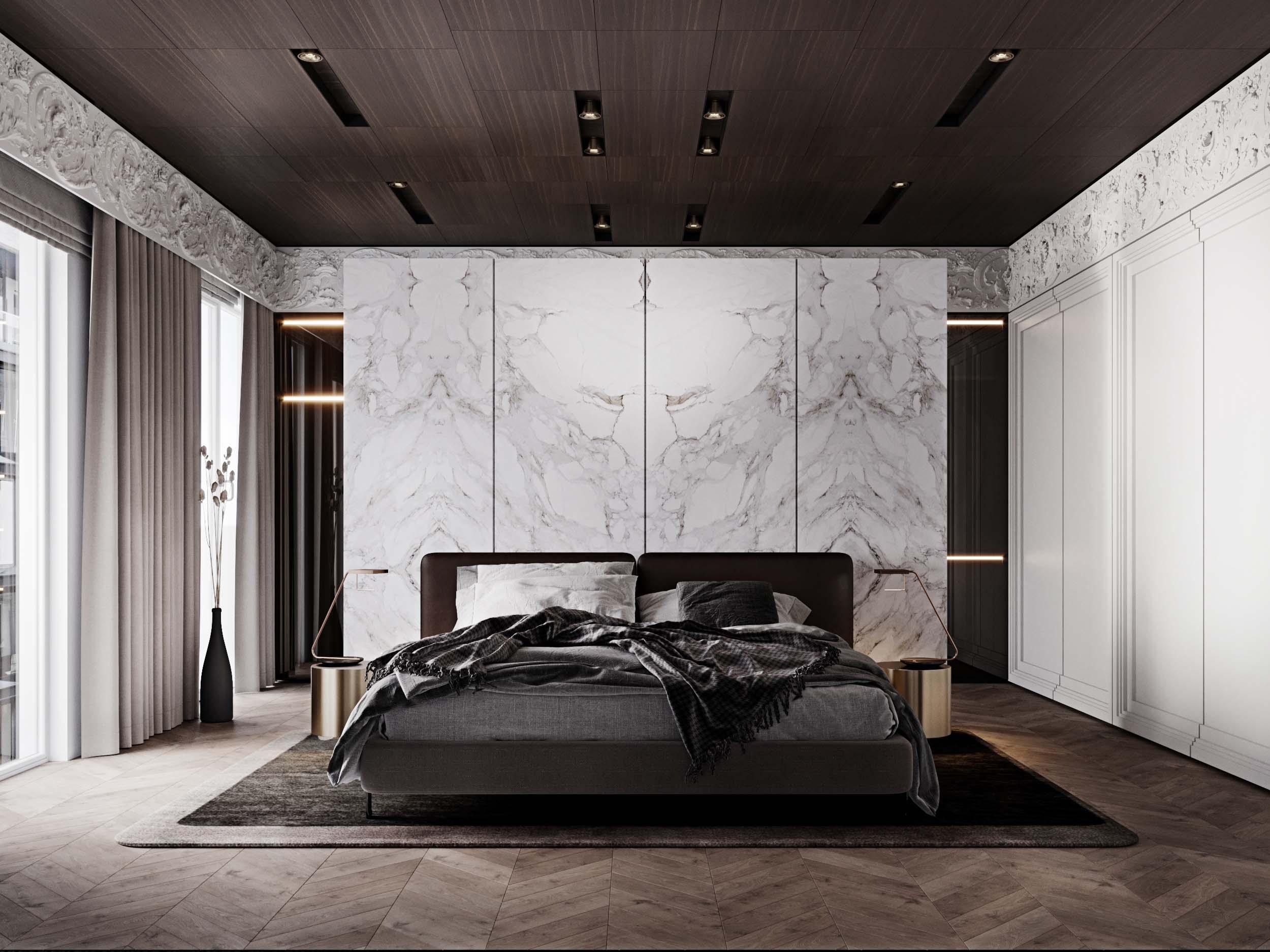 Декорирование спальни при помощи встроенных светильников
