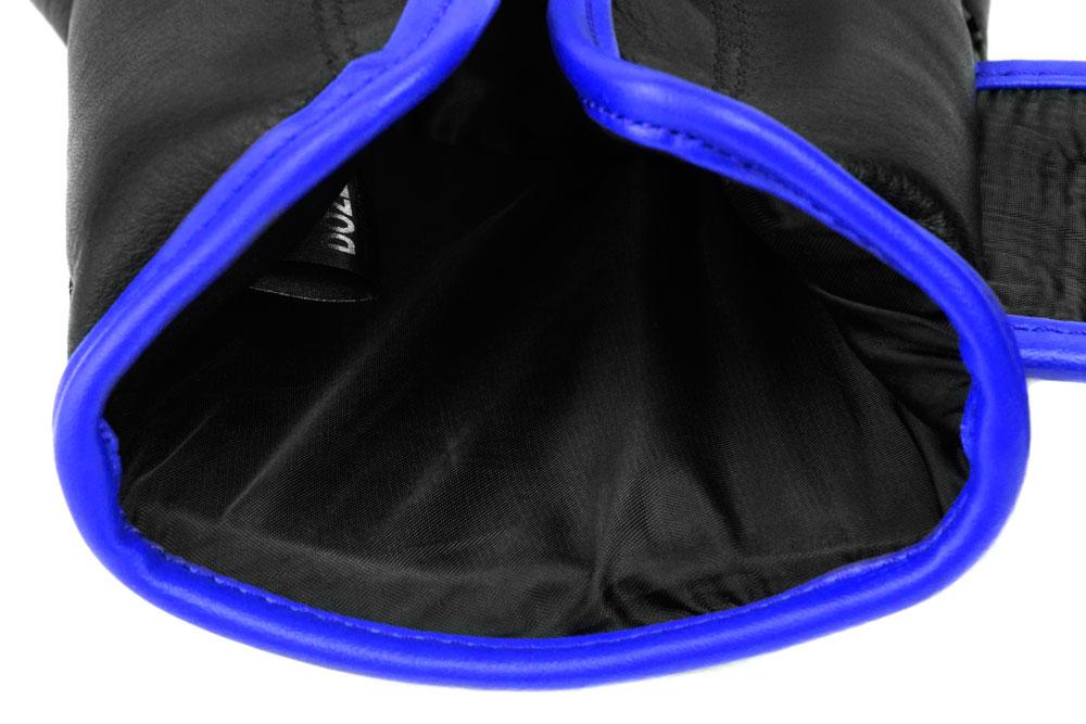 Вид подкладки черно-синих боксёрских перчаток Dozen Monochrome