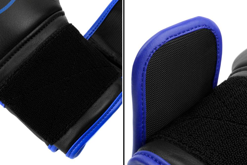 Вид фиксации черно-синих боксёрских перчаток Dozen Monochrome