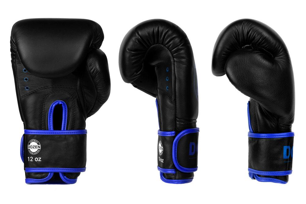 Вид доворота черно-синих боксёрских перчаток Dozen Monochrome