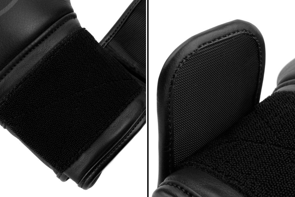 Вид фиксации черно-черных боксёрских перчаток Dozen Monochrome