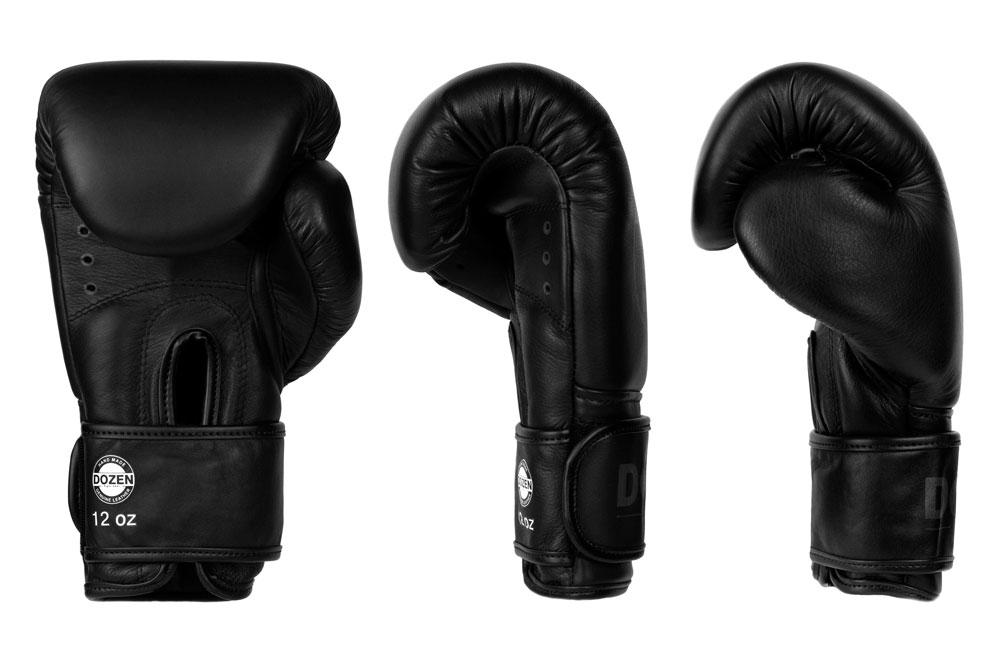 Вид доворота черно-черных боксёрских перчаток Dozen Monochrome