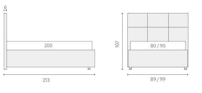 размеры кровати Аскона Лео
