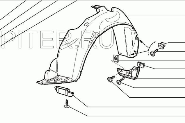 Схема установки штатных брызговиков на лада гранта