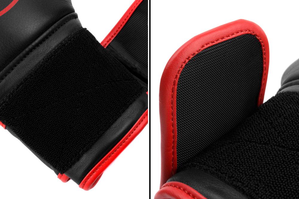 Вид фиксации черно-красных боксёрских перчаток Dozen Monochrome