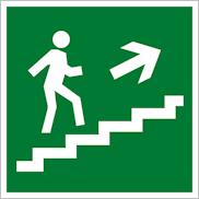 Знак Е15 направление эвакуации по лестнице вверх направо