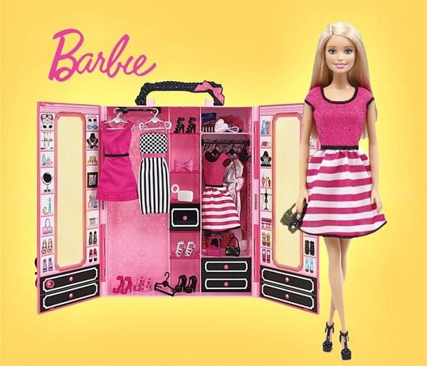 Шкаф Barbie с куклой (розовый)