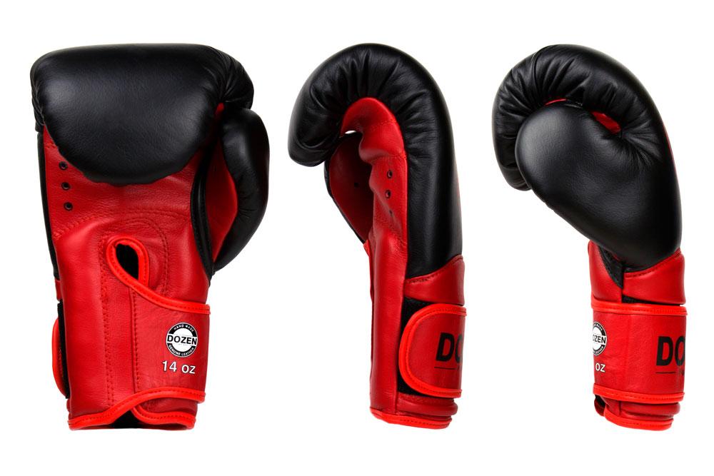 Доворот черно-красных боксёрских перчаток Dozen Dual Impact