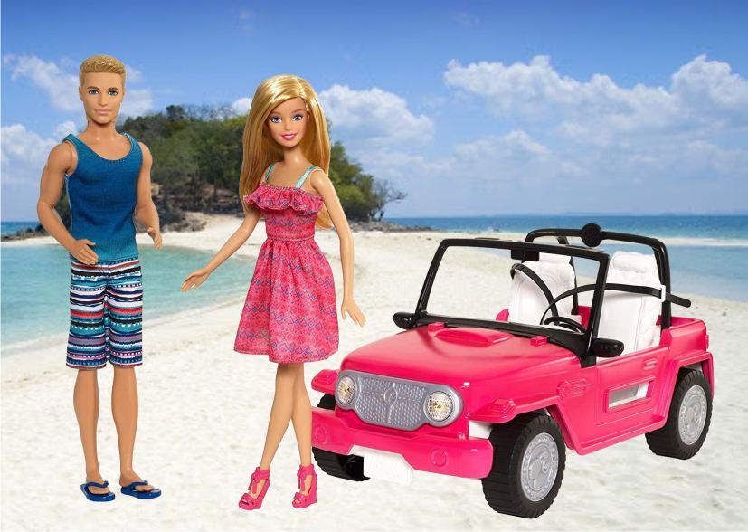 Игровой набор с куклами Барби и Кеном в джипе
