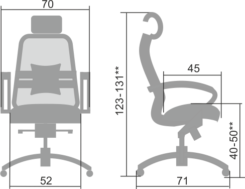 Размеры кресла Samurai 2.04