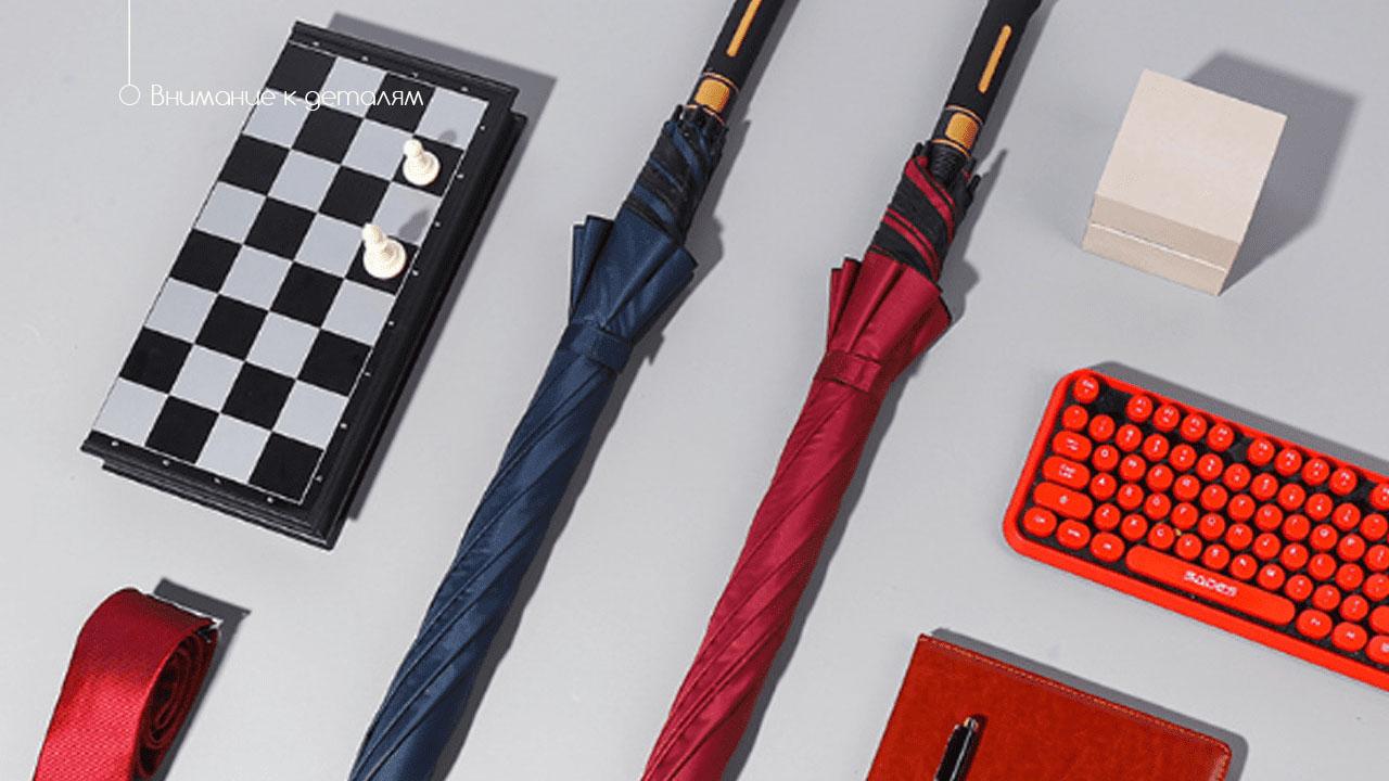 Классический зонт трость полуавтомат черный | Guattro design