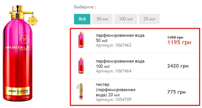 выбор парфюмерии на сайте