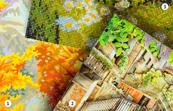 Сравнение детализации изображения папертоли Paperlove с алмазной живописью и картиной по номерам.