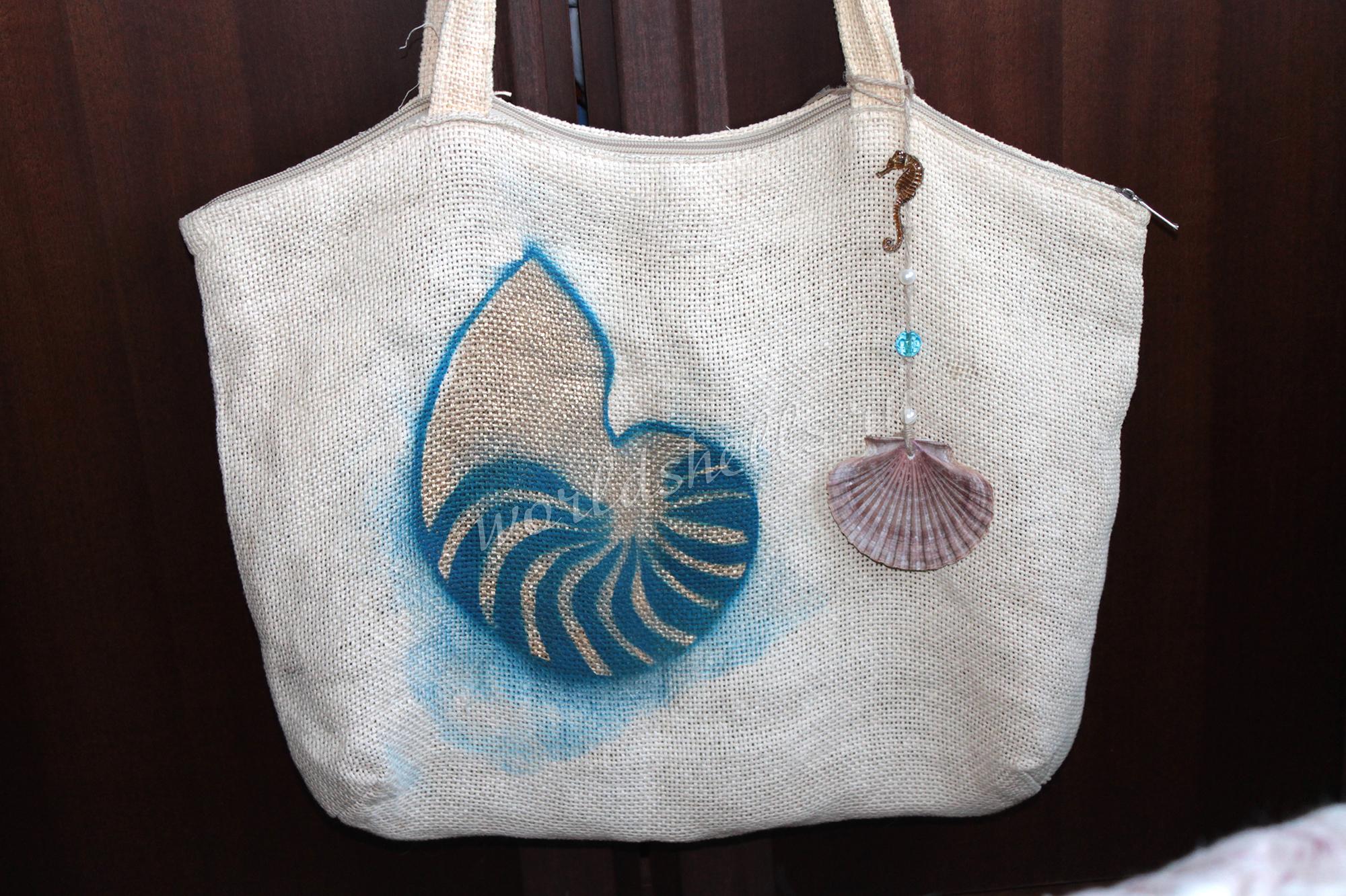 Декорирование пляжной сумки в морском стиле