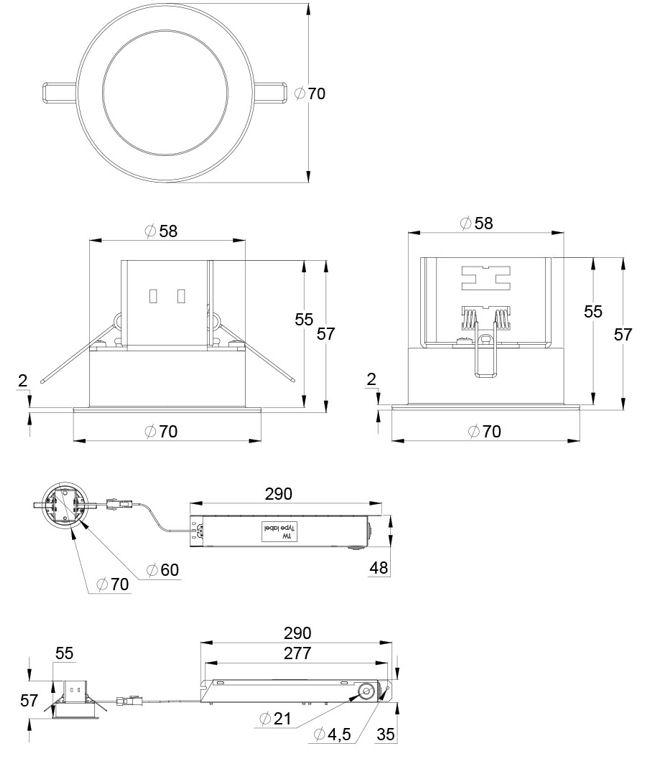 Монтажные размеры для аварийных светильников централизованного типа TRISPOT