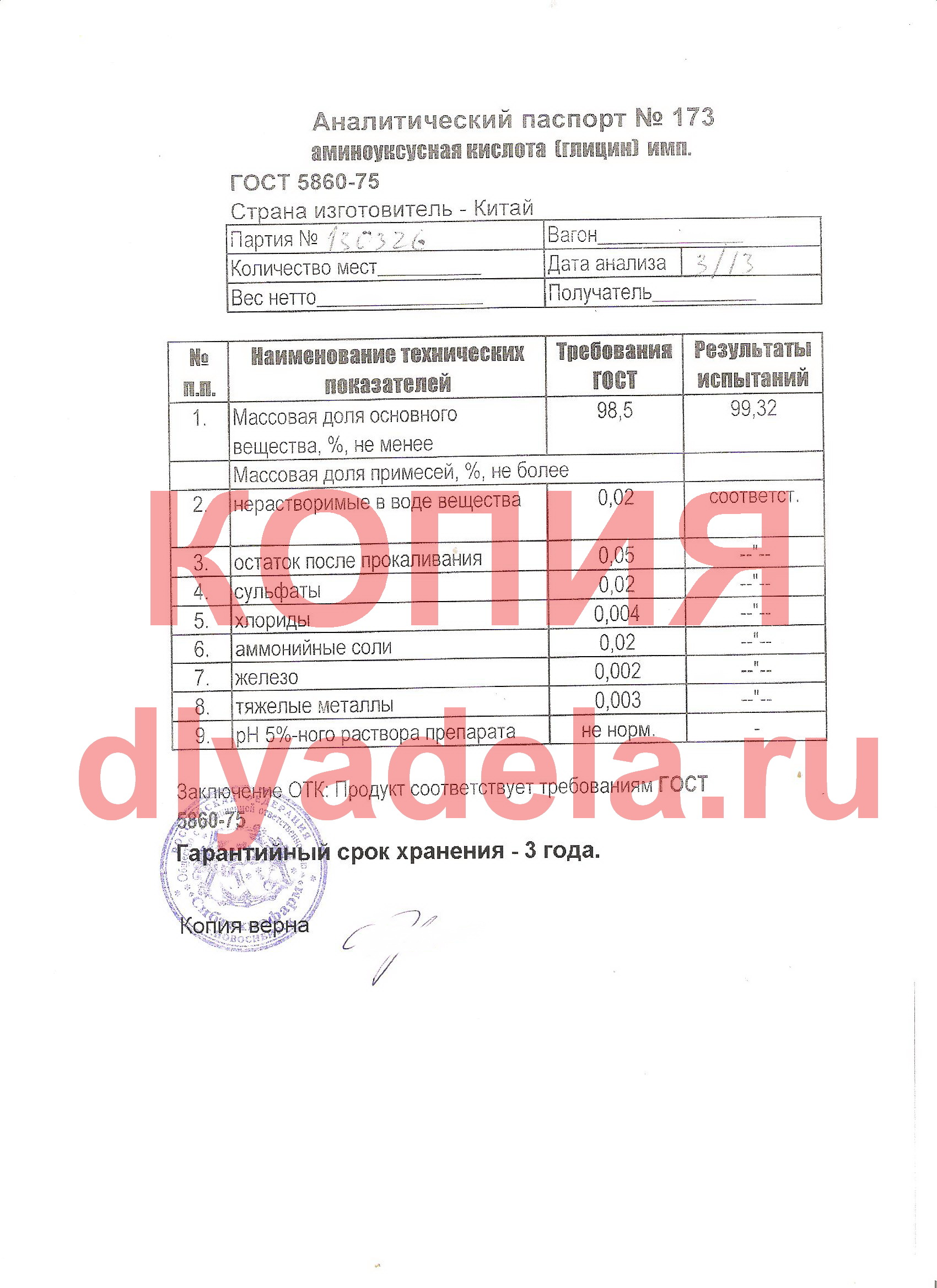 Аналитический паспорт на глицин