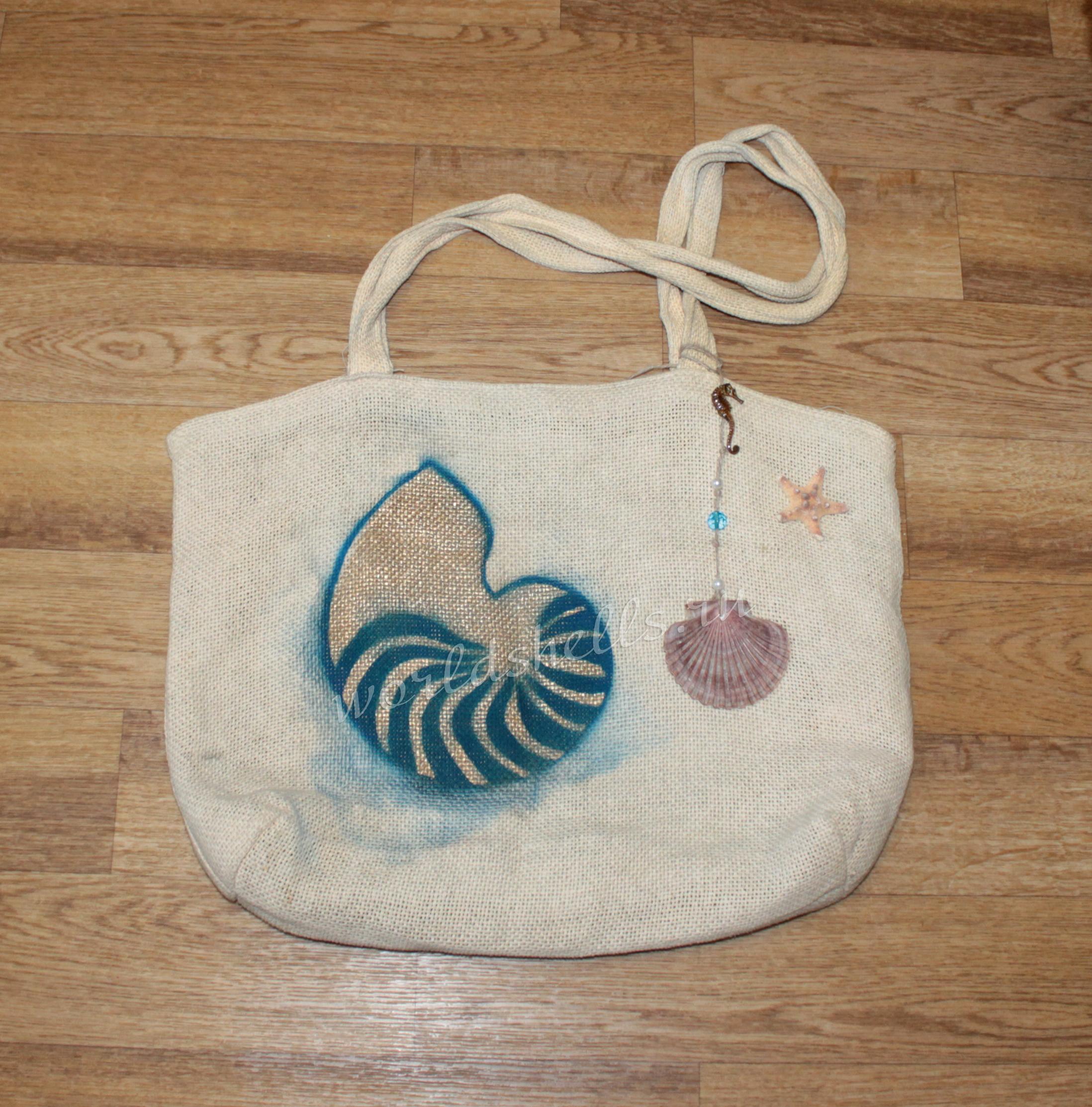 Морской декор пляжной сумки с морской звездой и ракушками