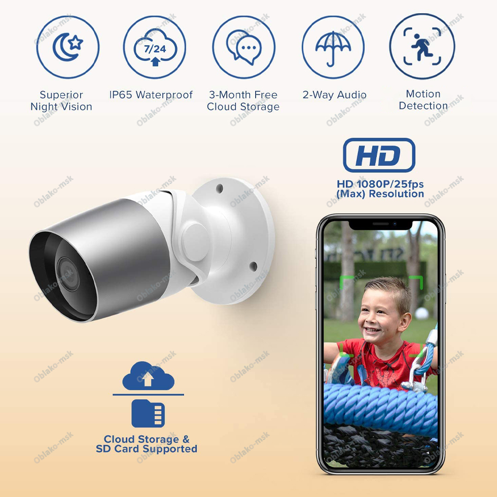 IP-камера Laxihub O1-TY Bullet 2S Outdoor Camera 1080p уличная  Wi-FI RU EAC
