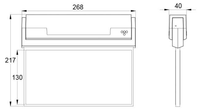 Размеры табло светодиодного аварийного указателя выхода ESC-80 с дальностью распознавания 26м