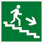 Знак Е13 направление движения эвакуации по лестнице вниз направо