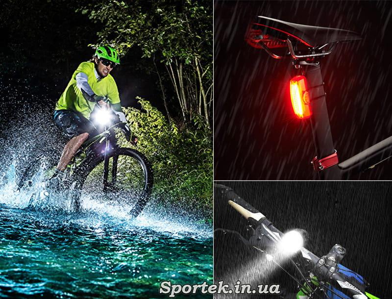 Видимість велосипедиста під дощем на дорозі