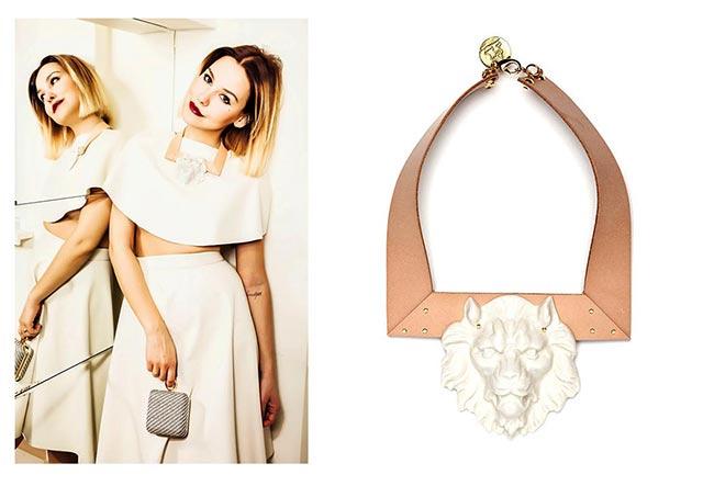Fashion блоггер Софи Елисеева и её колье Lion Leather от ANDRES GALLARDO