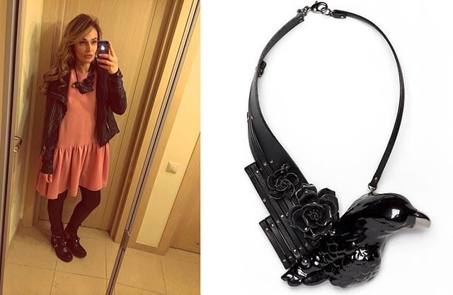 ведущая Алёна Водонаева и её колье Black Eagle от ANDRES GALLARDO