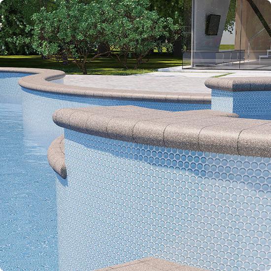 Фото круглая мозаика в бассейне
