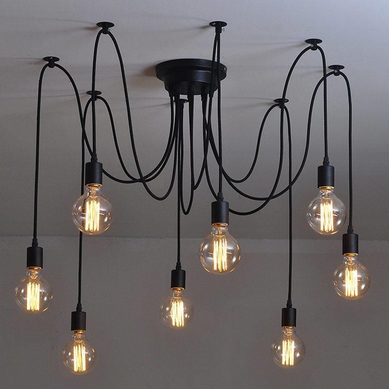 Люстра паук черная на 8 ламп с ретро лампами эдисон g95 squirell Cage