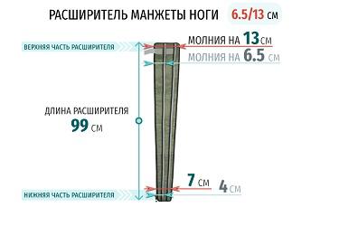 Размеры расширителя манжеты ноги 13 см