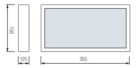 Технический чертеж аварийного табло ВЫХОД с аккумулятором HL-330L