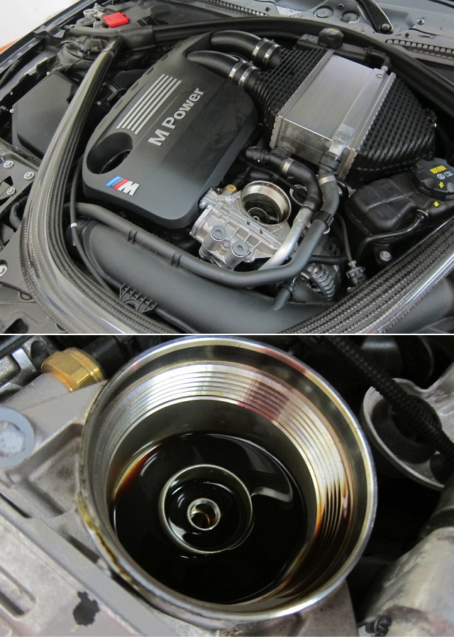 Масляный фильтр и горловина двигателя M