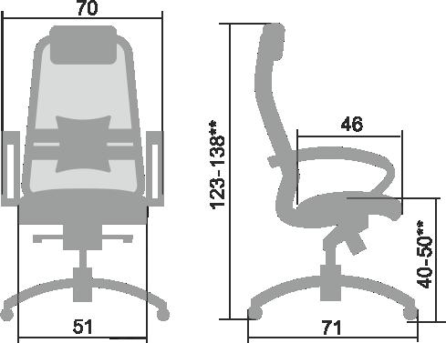 Размеры кресла Samurai Comfort