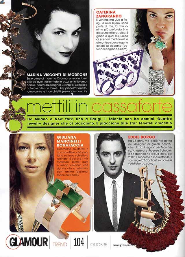 украшения Giuliana Mancinelli Bonafaccia в итальянском журнале Glamour