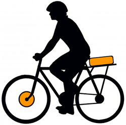 Переднее мотор-колесо и аккумулятор на багажнике