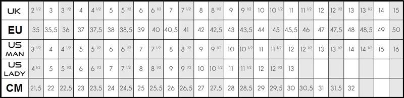 Таблица размеров обуви Kayland