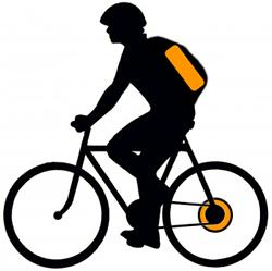 Заднее мотор-колесо и аккумулятор в рюкзаке