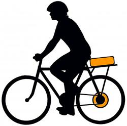 Заднее мотор-колесо и аккумулятор на багажнике