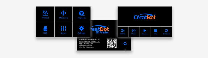 CreatBot D600 Pro Интуитивно понятный сенсорный экран 4.3 дюйма