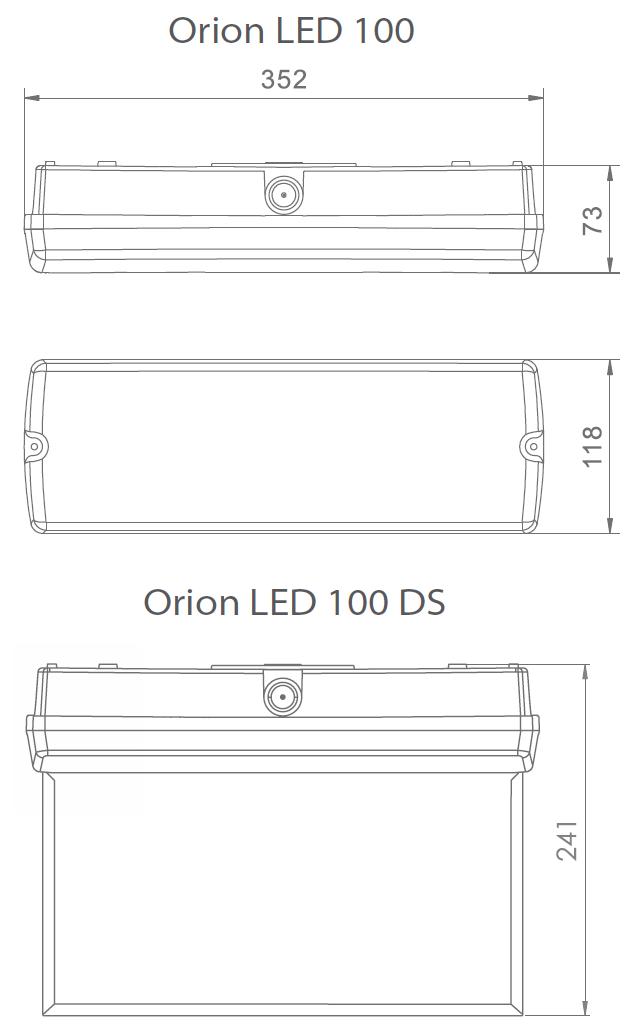 Размеры аварийного светильника для холодных помещений Orion LED 100 LT
