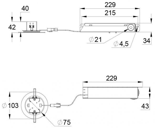 Монтажные размеры эвакуационного светодиодного светильника SLIMSPOT – централизованного типа