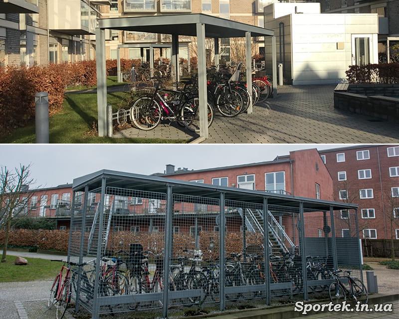 велосипедні стоянки у дворі будинків