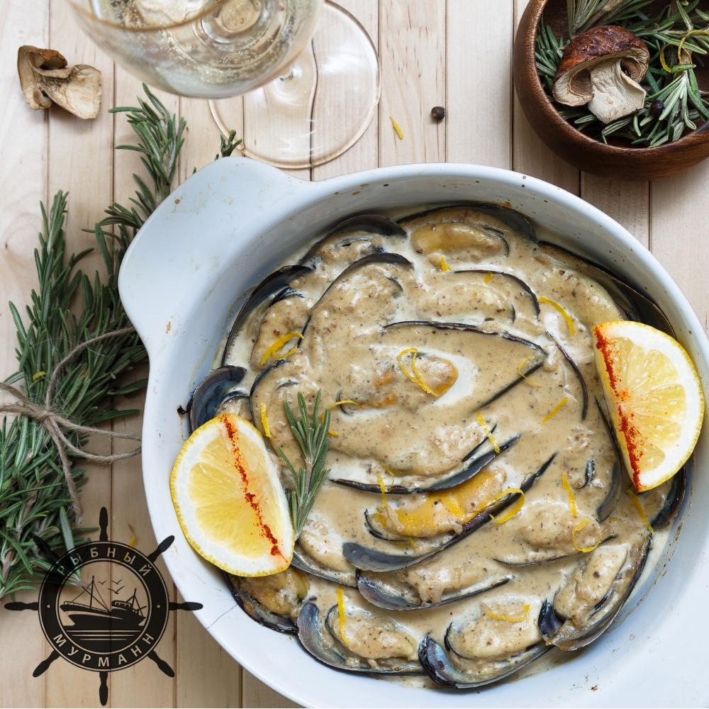 Мидии в сливочно-грибном соусе - от Рыбного Мурманна!