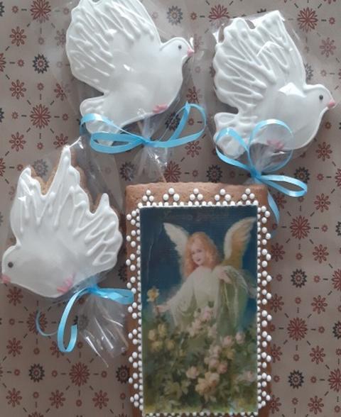 Подарочный набор к пасхе безглютеновые пряники Открытка Ангел розы и голуби