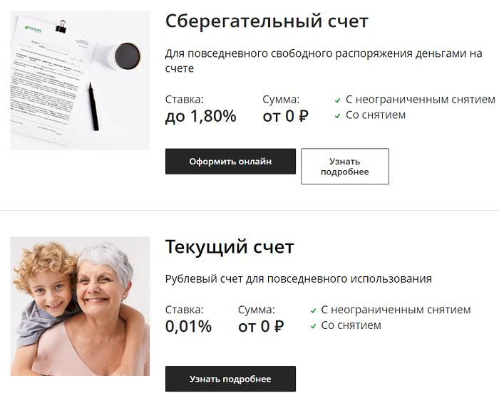 Открытие счета на сайте в Сбербанке