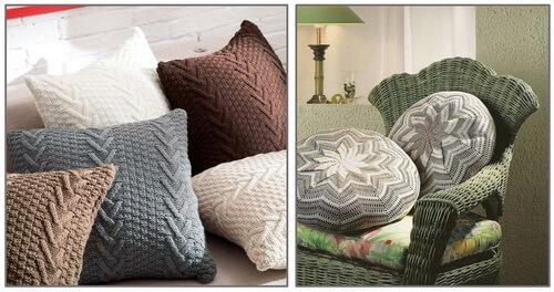 Вязаные подушки различной формы